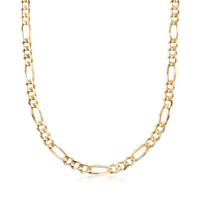 Men's 7mm 14kt Yellow Gold Figaro-Link Chain Necklace. 20""