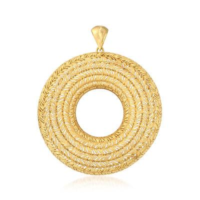 Italian 18kt Gold Over Sterling Open-Space Basketwave Pendant, , default