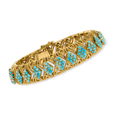C. 1970 Vintage Turquoise Section Bangle Bracelet in 18kt Yellow Gold