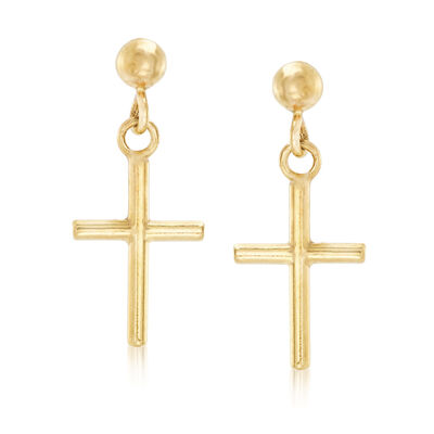 Italian 14kt Yellow Gold Cross Drop Earrings, , default
