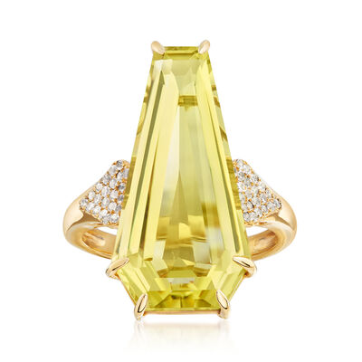 12.00 Carat Lemon Quartz and .30 ct. t.w. White Zircon Ring in 18kt Gold Over Sterling, , default