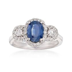1.50 Carat Sapphire and .52 ct. t.w. Diamond Ring in 14kt White Gold, , default