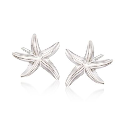Sterling Silver Starfish Stud Earrings, , default