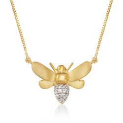 .10 ct. t.w. Diamond Bee Necklace in 14kt Gold Over Sterling, , default
