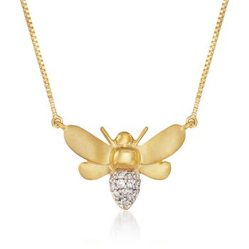 """.10 ct. t.w. Diamond Bee Necklace in 14kt Gold Over Sterling. 18"""", , default"""