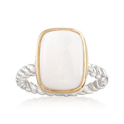 14x10mm White Agate Ring in Sterling Siver and 14kt Yellow Gold, , default
