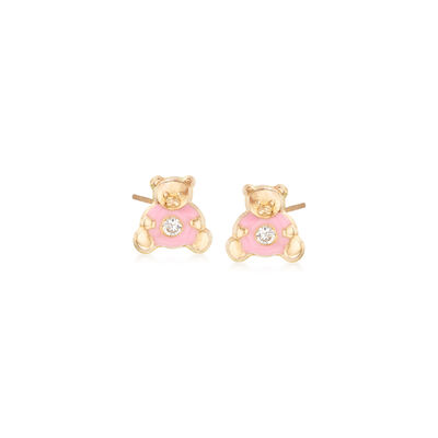 Child's CZ-Accented Teddy Bear Stud Earrings in 14kt Yellow Gold