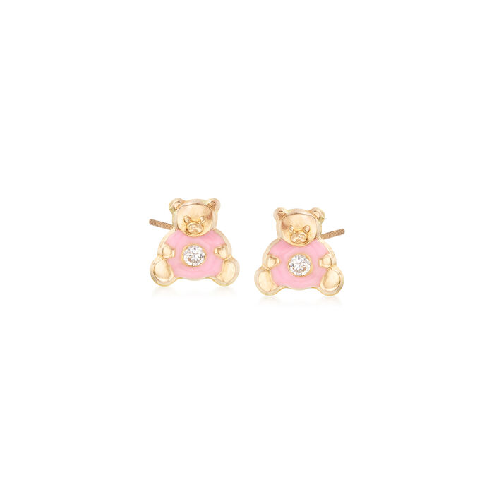 Child's CZ-Accented Pink Enamel Teddy Bear Stud Earrings in 14kt Yellow Gold, , default