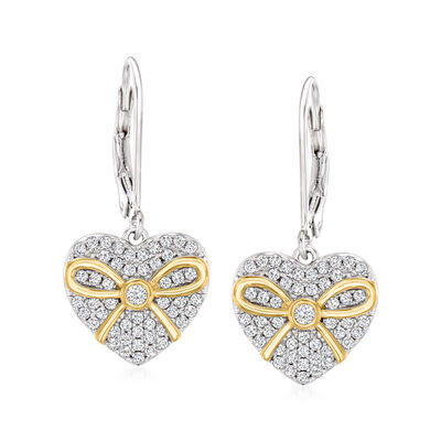 .56 ct. t.w. CZ Heart Drop Earrings in Two-Tone Sterling Silver