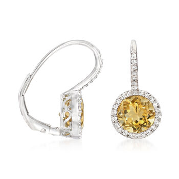 C. 1980 Vintage 2.30 ct. t.w. Citrine and .20 ct. t.w. Diamond Drop Earrings in 14kt White Gold. Leverback Earrings, , default