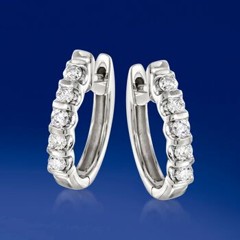 .25 ct. t.w. Diamond Huggie Hoop Earrings in 14kt White Gold. 1/2""