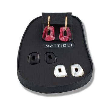 """Mattioli """"Puzzle"""" 18kt Yellow Gold Earrings With Three Interchangeable Drops: Black Onyx and Multicolored Mother-Of-Pearl. 7/8"""", , default"""