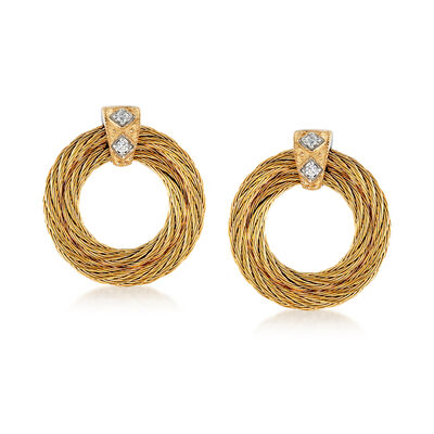 "ALOR ""Classique"" Yellow Stainless Steel Cable Earrings with Diamond Accents and 18kt Yellow Gold"