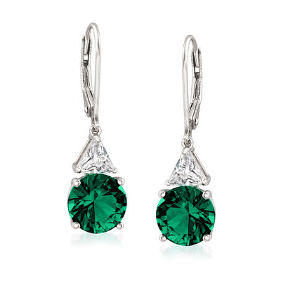 5.30 ct. t.w. Simulated Emerald and 1.00 ct. t.w. CZ Drop Earrings in Sterling Silver, , default