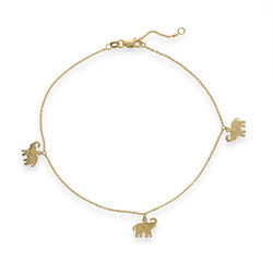 14kt Yellow Gold Elephant Trio Dangle Anklet, , default