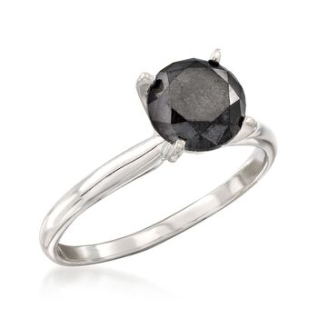 1.50 Carat Black Diamond Solitaire Ring in 14kt White Gold