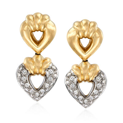 C. 1980 Vintage .80 ct. t.w. Diamond Double Heart Drop Clip-On Earrings in 14kt Yellow Gold