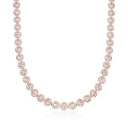 "Swarovski Crystal ""Angelic"" Round Crystal Collar Necklace in Rose Gold Plate. 14.5"", , default"