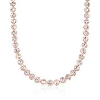 """Swarovski Crystal """"Angelic"""" Round Crystal Collar Necklace in Rose Gold Plate. 14.5"""", , default"""