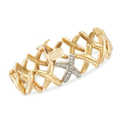 .22 ct. t.w. Pave Diamond X Bracelet in 14kt Yellow Gold, , default