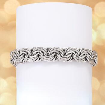 Sterling Silver Large Rosette-Link Bracelet