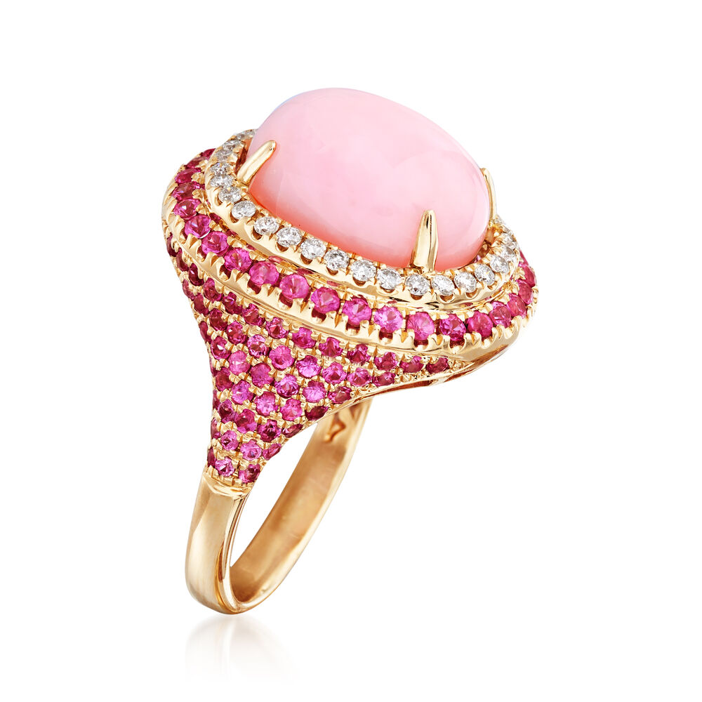 Pink Opal and 1.40 ct. t.w. Pink Sapphire Ring With .29 ct. t.w. ...