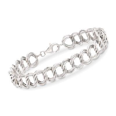Double Link Bracelet in 14kt White Gold, , default