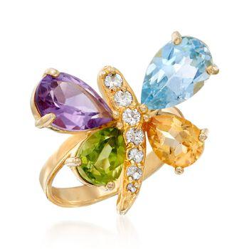5.70 ct. t.w. Multi-Stone Butterfly Ring in 18kt Gold Over Sterling, , default