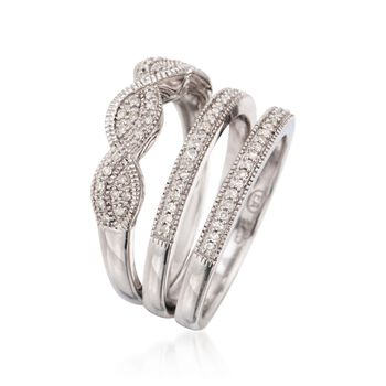 .25 ct. t.w. Diamond Jewelry Set: Three Rings in Sterling Silver, , default