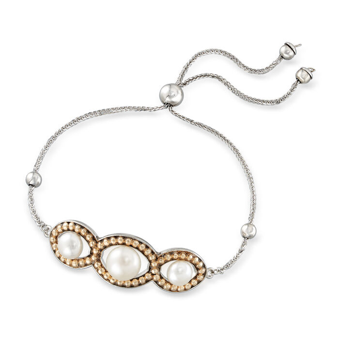 6-8.5mm Cultured Pearl Bolo Bracelet in Sterling Silver with 14kt Yellow Gold