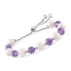 8-9mm Cultured Pearl and 20.00 ct. t.w. Amethyst Bead Bolo Bracelet in Sterling Silver , , default