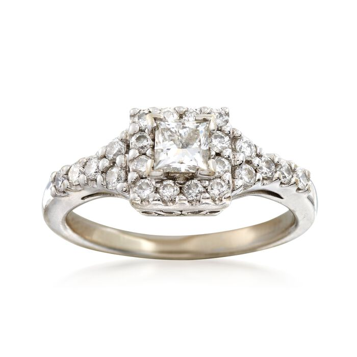 C. 1990 Vintage .75 ct. t.w. Princess-Cut and Round Diamond Ring in 14kt White Gold