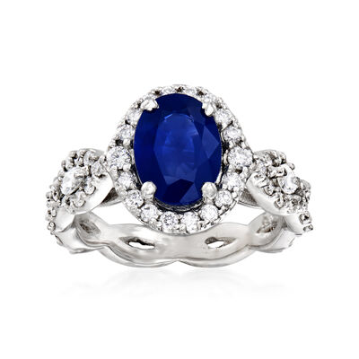 1.85 Carat Sapphire and 1.50 ct. t.w. Diamond Ring in 14kt White Gold