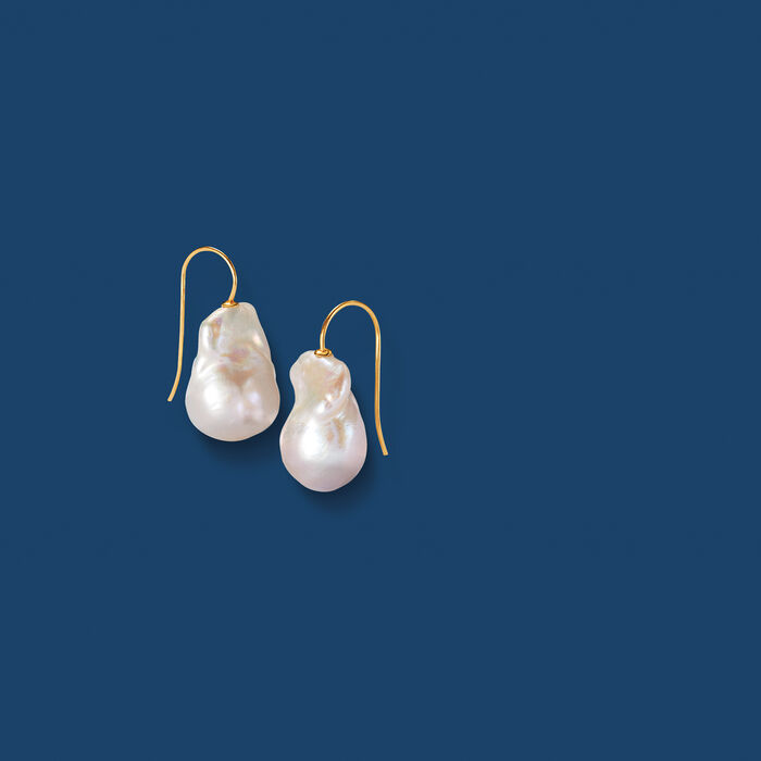11-12mm Cultured Baroque Pearl Drop Earrings in 14kt Yellow Gold