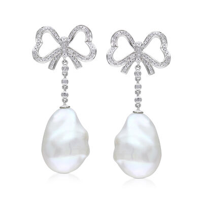 13mm Cultured Baroque Pearl and .49 ct. t.w. Diamond Bow Drop Earrings in 14kt White Gold, , default