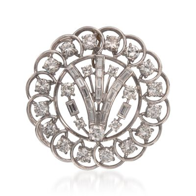 C. 1960 Vintage 5.75 ct. t.w. Diamond Pin Pendant in Platinum