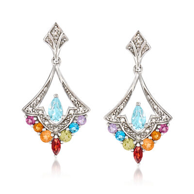.92 ct. t.w. Multi-Gemstone Drop Earrings with Diamond Accents in Sterling Silver, , default