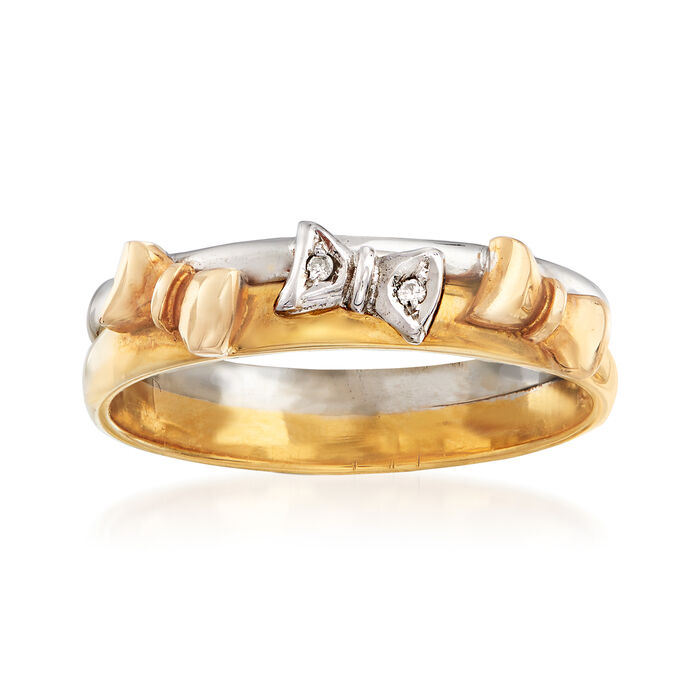C. 1990 Vintage 18kt Two-Tone Gold Bow Ring with Diamond Accents. Size 7.75, , default