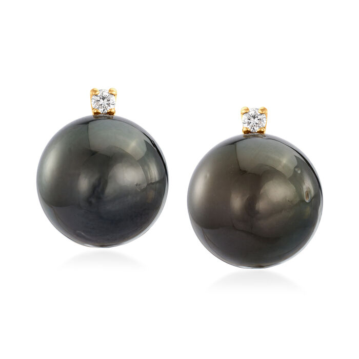 10.5-11mm Black Cultured Tahitian Pearl Earrings with Diamond Accents in 14kt Yellow Gold