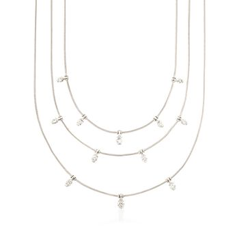 """C. 1990 Vintage Jose Hess 1.15 ct. t.w. Diamond Nested Necklace in 18kt White Gold. 16"""", , default"""
