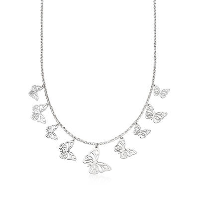 Italian Sterling Silver Graduated Butterfly Necklace