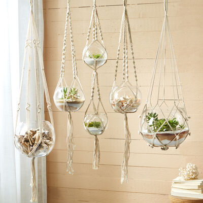 Set of Five Macrame Candleholder Plant Hangers with Cotton Rope and Glass Bowls, , default