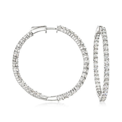 5.00 ct. t.w. Diamond Inside-Outside Hoop Earrings in Sterling Silver, , default