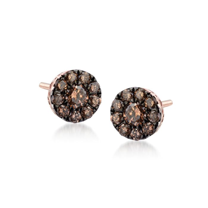 .22 ct. t.w. Champagne Diamond Stud Earrings in 14kt Rose Gold
