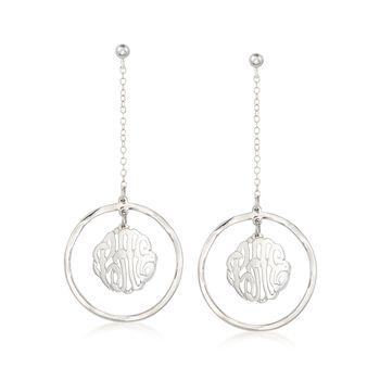 Sterling Silver Monogram Center Drop Earrings , , default