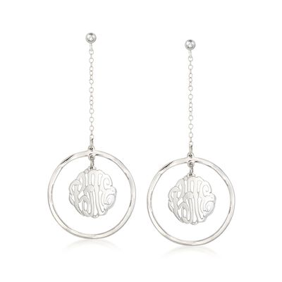Sterling Silver Monogram Center Drop Earrings, , default