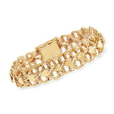C. 1980 Vintage 14kt Yellow Gold Heart Link Bracelet