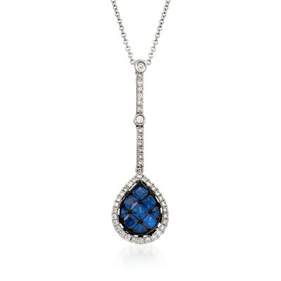 Simon G. .80 ct. t.w. Sapphire and .27 ct. t.w. Diamond Pendant Necklace in 18kt White Gold