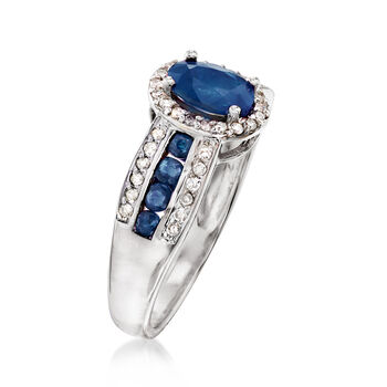 1.40 ct. t.w. Sapphire and .20 ct. t.w. Diamond Ring in 14kt White Gold. Size 9, , default