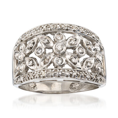 C. 1990 Vintage .25 ct. t.w. Diamond Floral Ring in 14kt White Gold, , default